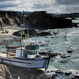 Landlocked Vessel by Jim Downey - News & Events Weather & Storms ( tides, storm shurge, grounded, fishing boat, abandoned )