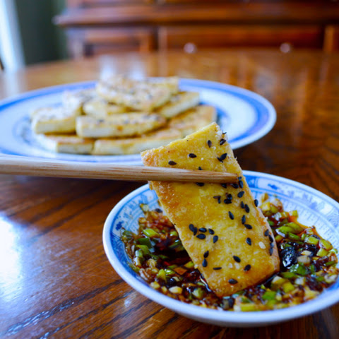 PAN-FRIED TOFU WITH SOY DIPPING SAUCE