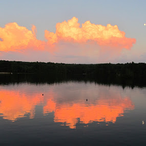 Sunset Reflections by Linda Hogue - Landscapes Cloud Formations ( Earth, Light, Landscapes, Views )