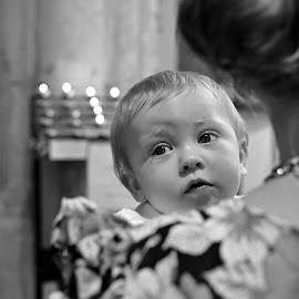 Christening by Melanie Pista - Babies & Children Babies ( sweet, black and white, innocence, baby, eyes )