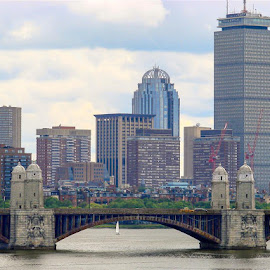 Boston by Rich Eginton - City,  Street & Park  Skylines ( clouds, skyline, boston, bridge, river,  )