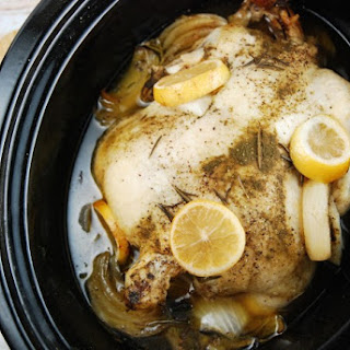 Crock Pot Lemon Rosemary Whole Chicken