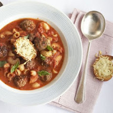 Pasta & Meatball Soup With Cheesy Croutons