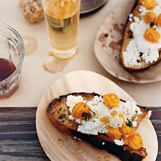 Ricotta with Roasted Cherry Tomatoes on Crostini