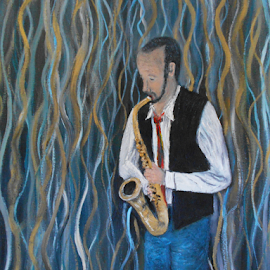 A Man and his Sax by Rhonda Lee - Painting All Painting ( music, player, art, sax, saxaphone, celebrate, friend, man )