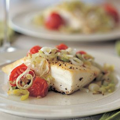 Halibut with Tomatoes and Leeks
