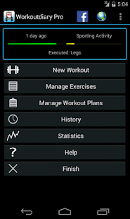 Workoutdiary PRO Fitness app screenshot for Android