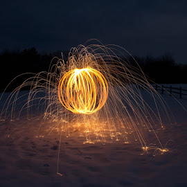 Great Ball of Fire by Ashley Schounard - Abstract Light Painting ( abstract, light painting, steel wool, night )