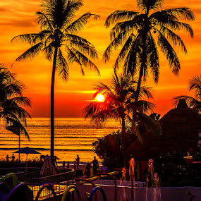 Tropical Sunset by Adeline Tan - Landscapes Sunsets & Sunrises ( sunset, beach, people,  )
