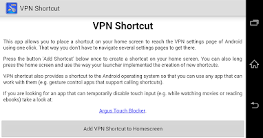 Screenshot of VPN Shortcut (free, no ads)