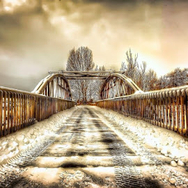 Bridge to nowhere  by Gayle Wilcox - Digital Art Places ( idaho, winter, bridge )