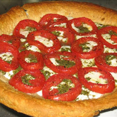 Mozzarella, Pesto and Tomato Pie