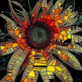 Sunflower Sections by Roxanne Dean - Digital Art Abstract ( patterns, designs, texture, lines, bud, flower )