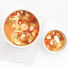 Shrimp, Cod, and Fennel Soup with Tomatoes