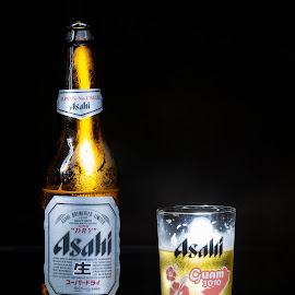Asahi Beer by Cory Loomis - Food & Drink Alcohol & Drinks ( mirror, light paint, no flash, beer, glass, bottle, asahi )