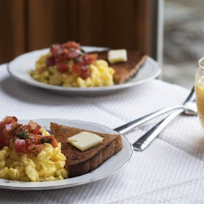 Soft Scrambled Eggs with Mediterranean Tomato Topping