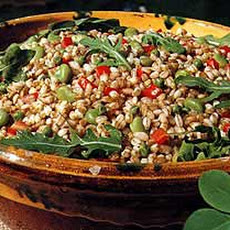 Farro Salad with Peas, Favas, Arugula and Tomatoes