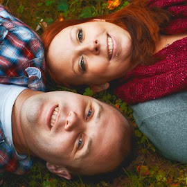 Fall Couple by Kara Wuebbenhorst Prince - People Couples ( happy, fall, couple, fun, leaves )