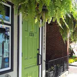 The Green Door by Anne Johnson - City,  Street & Park  Markets & Shops ( funky, green, door, restaurant, entrance )
