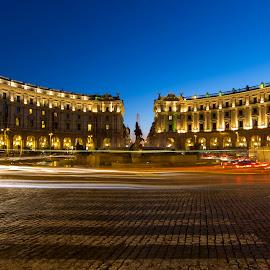 Piazza della Repubblica by Bill Kuhn - Buildings & Architecture Public & Historical ( crosswalk, repubblica, roundabout, rome, fountain, light trails, night, long exposure, piazza, italy )