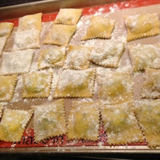 Homemade Ravioli with Ricotta Cheese and Spinach Filling