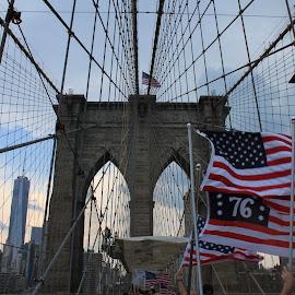 New York: The Greatest City in America by Megan Moore - City,  Street & Park  Street Scenes ( brooklyn bridge, america, american flag, new york city, freedom tower )