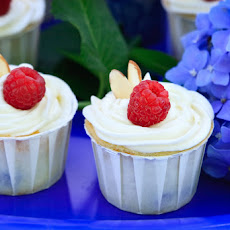 Blueberry and Raspberry Ricotta Almond Cupcake with Cream Cheese Frosting