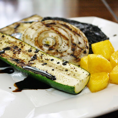 Grilled Vegetables With Polenta Croutons Drizzled With A Balsamic Reduction