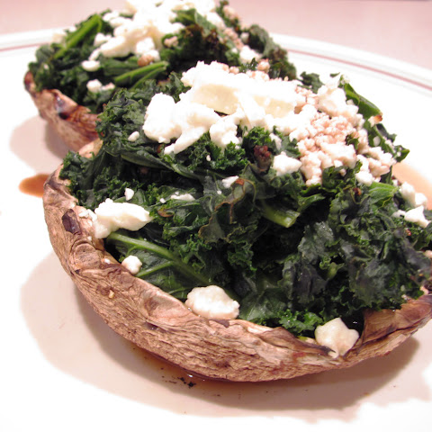 Kale and Cheese stuffed Portabella Mushrooms