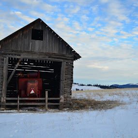 by Selah Madland - Buildings & Architecture Other Exteriors ( clouds, old, sky, winter, barn, brown, tractor )