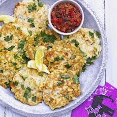 Cauliflower & Cheese Fritters With Warm Pepper Relish