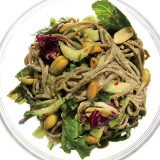 Sesame Soba Noodles with Cucumber, Bok Choy, and Mixed Greens