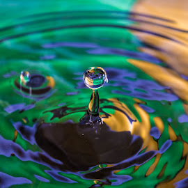 Drip by April Lewis - Abstract Water Drops & Splashes ( water, splash, green, drop, yellow )