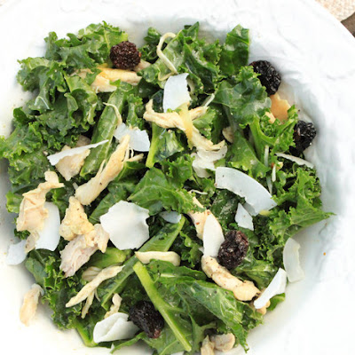 Warm Kale and Curried Chicken Salad with Toasted Coconut and Dried Cherries