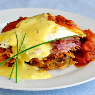 Potato Latke Prosciutto and Tomato Eggs Benedict