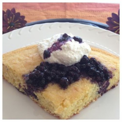Lemon Cornmeal Bread with Blueberry Compote