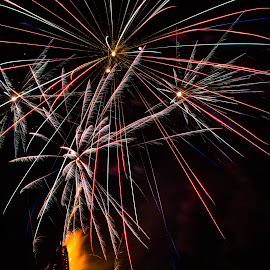 Bond Fires on the Levee by Sheldon Anderson - News & Events Entertainment ( flames, bond fires on the levee, night photography, louisiana, fireworks, street photography )