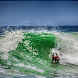 the body boarder by Maricha Knight van Heerden - Sports & Fitness Surfing ( body boarder, mighty sea, waves, onrus, body boarding )