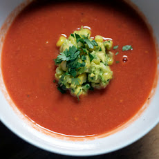 Dinner Tonight: Fresh Tomato Soup with Roasted Corn Guacamole