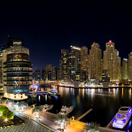 Marina Night by Muhib Al Abed - Buildings & Architecture Office Buildings & Hotels ( water, office, canon, building, dubai, 1100d, night, marina, boat )