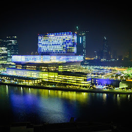 Beautiful Scenery by Zarrah Jane Amagan - Novices Only Landscapes ( beautiful, abudhabi, night, landscape, hospital )