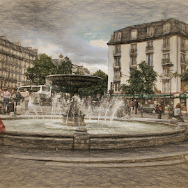 Paris fountain by Dennis Granzow - Digital Art Places ( paris, fountain, travel, traditional art, drawing )