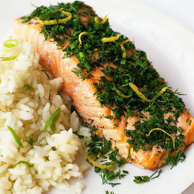 Fresh-Herb Salmon with Jasmine Rice