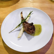 Broiled Lamb Chops with a Mint-Orange Liqueur Sauce and White Asparagus