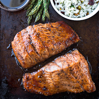 Bourbon-Glazed Salmon with Dried Cherry and Pistachio Rice Pilaf