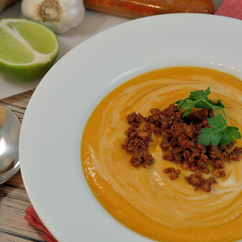 Spicy Sweet Potato and Chorizo Bisque