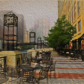 Chicago Outside Cafe by Dennis Granzow - Digital Art Places ( digital drawing, chicago river digital art, chicago, travel )