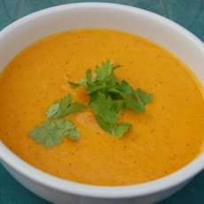 Chilled Spice-Roasted Carrot Soup with Yogurt