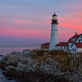 Portland Head Lighthouse at Sunset by Dave Files - Buildings & Architecture Public & Historical ( maine, sunset, cape elizabeth, lighthouuse, ocean, portland head, atlantic, rocks )