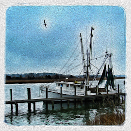shrimp boat by Lennie Locken - Digital Art Things